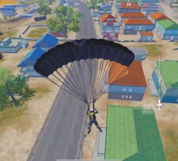 player landing in parachute