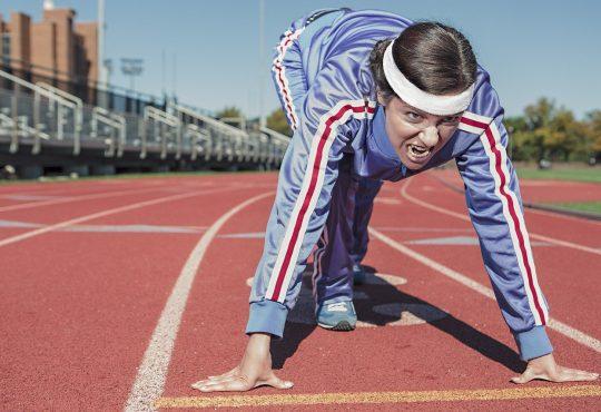 Woman Athlete Running Exercise Sprint Cinder-Track