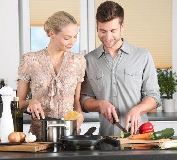 Woman Man Kitchen Food Preparation Couple